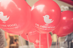 Luftballons rot, Dr. Dirk Vogel, OB-Kandidat, Vögelchen