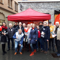 SPD Infostand, Bad Kissingen, gute Laune